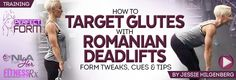 How To Target & Activate Your Glutes With Romanian Deadlifts: The secret…it's all in the pelvic tilt. You want to keep an anterior tilt (butt out, lower back arched) while you are in the eccentric (lowering the weight) part of the movement and a posterior tilt (glutes tucked in) at the very top, after the concentric (lifting the weight up) part of the movement.
