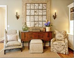 The herbier is from Joyce Horn, sconces from Round Top.  Both chairs are in Brunschwig fabrics.