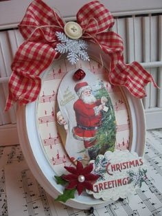Vintage style christmas santa altered by cherrysjubileecards