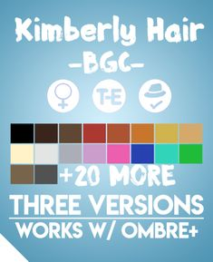 """aharris00britney: """" Kimberly Hairs • BGC • 18 EA Colors • Hat Compatible • Work with my ombre accessory found HERE • Recolors Allowed(Don't include the mesh) • Also recolored in @dustflwr Anathema Palette • Custom Thumbnails for all files • 'Short'..."""
