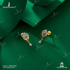 Gold Ring Designs, Gold Bangles Design, Gold Earrings Designs, Gold Jewellery Design, Diamond Jhumkas, Real Diamond Earrings, Gemstone Earrings, Gold Jewelry Simple, Simple Earrings