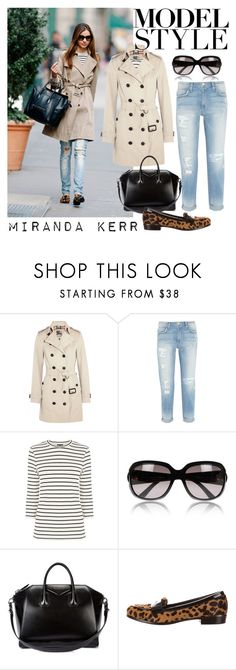 """Model Style: Miranda Kerr"" by rosalind10 ❤ liked on Polyvore featuring Kerr®, Burberry, Current/Elliott, Warehouse, Gucci, Givenchy, Miu Miu, women's clothing, women and female"