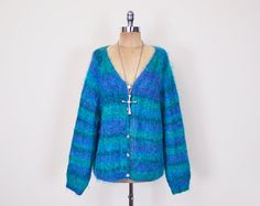 #Vintage #Blue #Ombre #Stripe #Shaggy #Furry #Fuzzy #Mohair #Cardigan Mohair #Sweater #Oversize Cardigan #Jumper #90s #Grunge Club Kid Plus Size XL XXL 1X 2X 3X #Striped #Oversized #Slouchy #ClubKid #Etsy #EtsyVintage #TrashyVintage @Etsy $48.00