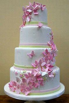Beautiful Wedding Cakes | Torta de bodas de cuatro pisos con decorado blanco y cintas verdes en ...
