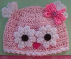 Cute owl cap from a very basic pattern. Image originally found on Squidoo.com but now takes you to some add for a cable show so none to credit for this image.