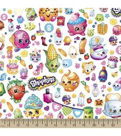 Shopkins Cotton Fabric-Party Cartoon