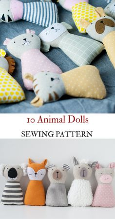 PDF animals sewing pattern kid craft diy stuffed toy tutorial animal rag doll beginner sewing project svg files svg sewing pattern easy PDF
