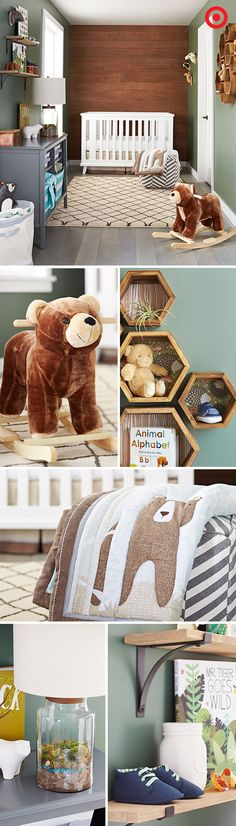 Create a friendly woodland nursery or your baby, filled cozy, personal touches and sweet little cubs. Choose comfortable, functional furniture—convertible crib that grows with your baby and a multitas Bear Nursery, Nursery Room, Kids Bedroom, Woodland Nursery Boy, Baby Boy Rooms, Baby Boy Nurseries, Baby Boys, Nursery Themes, Nursery Decor