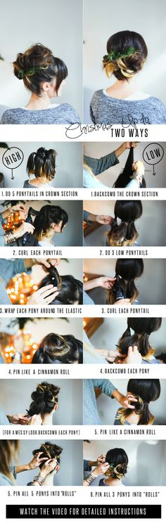 DIY Beautiful Two Way Christmas Up Do High Or Low Totorial