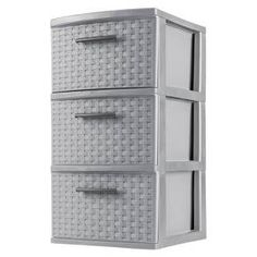 """•Overall Assembled Size: 21"""" x 14 3/8"""" x 21 7/8""""<br>•Versatile decorative storage solution is ideal for use throughout the home<br>•Opaque drawers keep contents concealed<br>•Easy pull handles allow drawers to open and close effortlessly<br>•Drawer stops prevent drawers from being removed accidently<br><br>The 3 Drawer Weave Tower is the ideal decorative solution for visible storage needs..."""