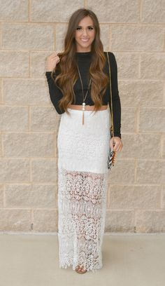 LACE Be Friends Maxi Skirt- This Maxi Has A shorter slip underneath and beautiful white lace trailing to the bottom, add a floppy hat or crop top for a boho look!