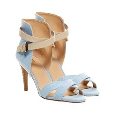 Joe's Jeans - Marcy Sandal - Whether you're getting ready for a casual day date or heading to the movies with a gaggle of your friends, you'll need a good pair of everyday heels. Sky blue denim combines with a creamy beige leather cross strap to create this casual pair of Joe's Jeans - Marcy Sandal. These open toe shoes hug your feet in a pair of criss crossed denim arms while the high-backed heel support your ankles within the wrap around leather strap to provide all day comfort. - Found at…