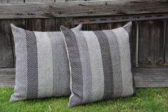 "Silvija Juozelskyte (Silvijart) textile designer. Hand-woven cushions  ""Firs forest""  50x50 cm. Linen and wool. Weaving has made broken streak (herringbone) what looks as fir line shape. https://www.facebook.com/pages/Silvijart/692148197510152?notif_t=page_new_likes"
