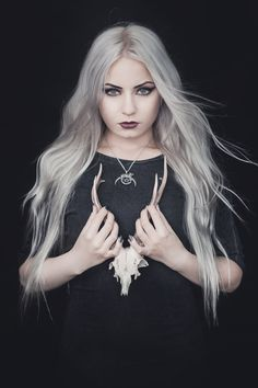 Entranced by Silverrr 🖤 Wearing her #Trickery 'Witchcraft' pendant in silver from www.trickery.com.au #witchy #witch #goth #gothgirl #silverhair #hairgoals #macabre #alternative #jewellery