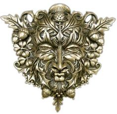 Greenman Wall Plaque - Cold Cast Bronze - YULE pagan wiccan witchcraft magick ritual supplies