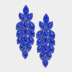 "Long Royal Blue Statement Earrings | 3.25"" | #longstatementearrings #pageantearrings #homecomingearrings #pageantjewelry #royalblueearrings #sapphireearrings"