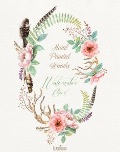 Watercolour Flower wreaths with Floral elements and von ReachDreams