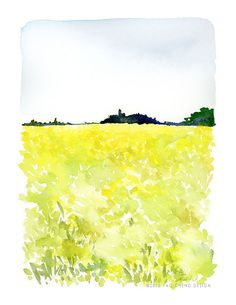 Landscape of Grass No. 3 Watercolor Art Print by YaoChengDesign, $25.00