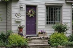 Plum door with taupe trim