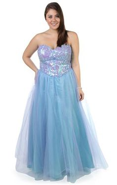 Plus Size Sequin Corset Long Prom Dress with Two Tone Tulle Skirt