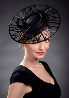 Black couture hat , black designer hat for high fashion loving lady. Inspired by Chanel`s boater hat I recently created a collection of three