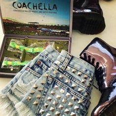 shorts dreamer girl studded festival vintage denim runwaydreamz summer love coachella indie fashion shoes