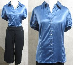 Ann Taylor Satin Blue Collared Blouse, Fitted Women's Button up Shirt, Size 14 #AnnTaylor #ButtonDownShirt #Career