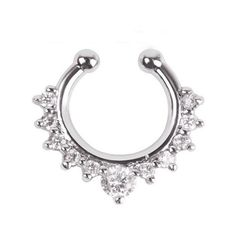Fake Septum Clicker Nose Ring Non Piercing Hanger Clip On ($7.57) ❤ liked on Polyvore featuring home, home decor and office accessories