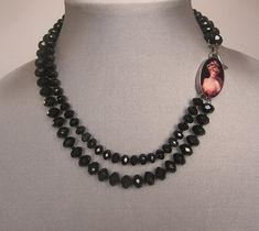 Black beads, image cameo, romantic choker. Fashion jewelry design. from yifataharoni on Ruby Lane