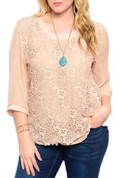 Plus Size Daisy Embroidered Overlay Scoop Neckline Top