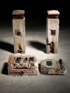 Ron Arad's home stereo set in concrete.
