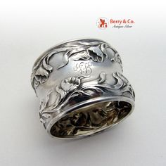 Poppy Napkin Ring Repousse Sterling Silver 1900