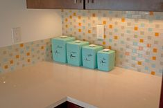 The Napa Project - Diary of a Mid Century Modern Remodel. A gorgeous backsplash by Susan Jablon Mosaics! Click to check out other pictures of this beautiful kitchen!