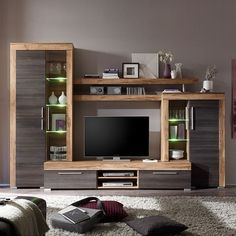 Wall unit Bang pieces)- Wohnwand Bang Wall unit Bang parts) – walnut decor / brown - Tv Unit Furniture, Living Room Furniture, Living Room Decor, Furniture Design, Living Room Tv Unit, Living Room Sets, Living Room Designs, Tv Wanddekor, Commode Design