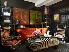 bright orange sofa