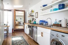 Micha's Laurel Canyon Hideaway love these old wood countertops! Decoration Inspiration, Wood Countertops, Inspired Homes, Beautiful Kitchens, Kitchen Dining, Timber Kitchen, Rustic Kitchen, Apartment Therapy, House Tours