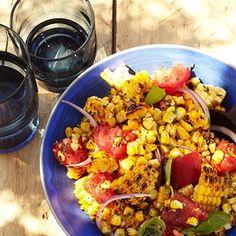 Charred Corn Salad with Basil and Tomatoes Recipe