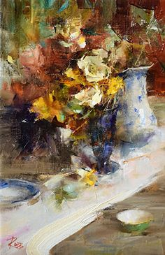 Table with White Poppies by Laura Robb Oil ~ 12 x 8