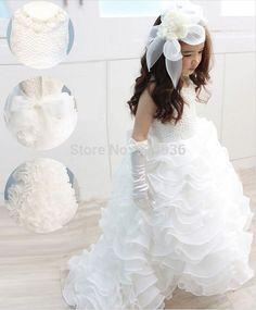 Первое причастие платья Лук Этаж Длина Органзы Белого Цвета Слоновой Кости Цветок Девочки Платья для свадеб Жемчуг vestidos baratos
