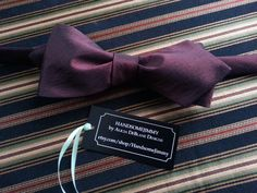 Burgundy Wine Freestyle Silk Bow Tie - Handcrafted - Tied or Untied by HandsomeJimmy on Etsy