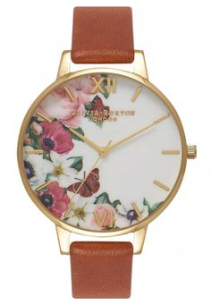 Add a pretty floral touch to your wrist this season with this charming watch inspired by beautiful English Gardens. English Garden Tan and Gold Watch Olivia Burton Big Watches, Casual Watches, Wrist Watches, Elegant Watches, Rose Gold Apple Watch, Gold Watch, Tans, Leather Jewelry, Gold Jewelry