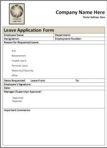 Sample Format Of Leave Application Form  Leaves Application Form