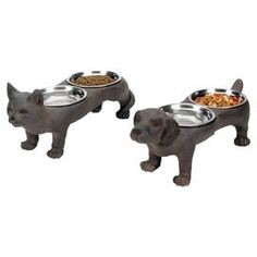 """Stylishly serve your favorite four-legged companions with these delightful pet diners. Artfully crafted into cat and dog-inspired shapes, these whimsical designs offer 2 metal bowls each for water and food.       Product: 2-Piece pet diner set   Construction Material: Metal and wood composite   Color: Distressed brown  Features: Includes two bowls for each pet diner Dimensions: 7"""" H x 6"""" W x 15"""" D each"""