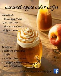 Caramel Apple Cider Coffee Donut Shop K Cups, Donut Shop Coffee, Keurig Recipes, Coffee Ingredients, Cafe Food, Caramel Apples, Coffee Drinks, Coffee Time, Whipped Cream