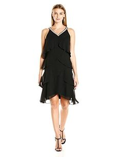 SL Fashions Womens Sleeveless Beaded Vneck Chiffon Tier Dress Black 8 >>> Continue to the product at the image link.