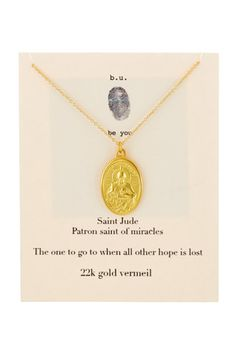 22K Gold Plated Sterling Silver St. Jude Pendant Necklace