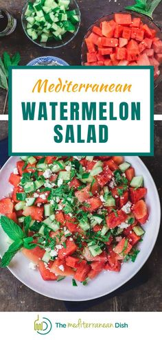 This Watermelon Salad is light and refreshing, perfect for a hot summer day! Take this to your next BBQ as a side dish or just for a light brunch or lunch! Spinach Recipes, Easy Salad Recipes, Vegetarian Recipes Easy, Easy Salads, Healthy Salads, Side Dish Recipes, Healthy Recipes, Savory Salads, Fruit Salads