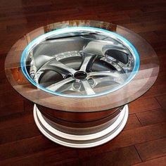 Auto addiction. wheel table rim design my man cave