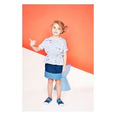 Another cute pic of Kyra @3minimodels in the #chambray #paperbagskirt & super comfy #flamingoprint top #ethicallymade #exclusivelydesigned in #organiccotton #supercutekid #baobab_ss16 #stylishkids