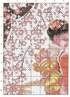 """GRILLE GRATUITE """"Femme dans jardin japonais"""""""